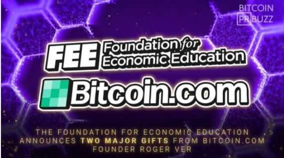 経済教育財団がBitcoin.comの創設者ロジャーバーからの2つの主要な贈り物を発表